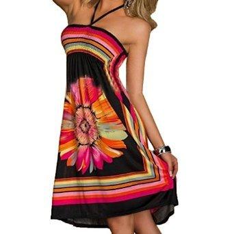 ACVIP Women's Flower Printed Halter Short Beach Dresses Black (M)