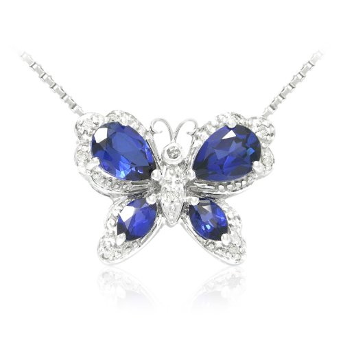 Sterling Silver Created Sapphire and Diamond Butterfly Pendant Necklace (0.05 cttw, I-J Color, I2-I3 Clarity), 18
