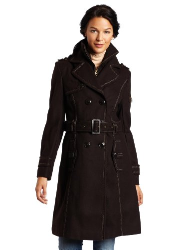 41FShMX7BkL Miss Sixty Womens Missy Knit Collar Long Trench