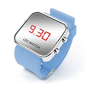 AIO style de sport de luxe LED Digital Mirror Watch - La lumière bleue