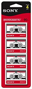 Sony MC-90 90-Minute Microcassette Tapes, 4-Pack