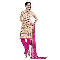 Parabdhani Fashion Women's Chanderi Semi Stitched Suit (PBF_DM_230_Beige_Free Size)
