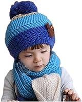 Demarkt 2 in 1 Set Child Girls Boys Winter Warm Knitted Hats Caps Beanie with Scarf Wrap