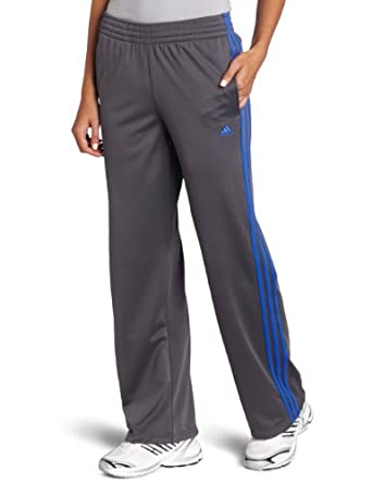 adidas Women's 3-Stripes Pant, Sharp Grey/Lab Blue, Small
