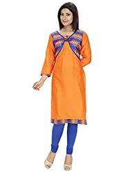 Tanvi Orange Cotton Straight Kurti For Women