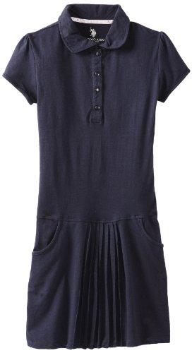 U.S. Polo школьная форма девушки 7-16 кнопку платье с передней складки, военно-морского флота, малый