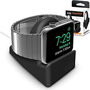 Orzly® Night-Stand for Apple Watch - BLACK Support Stand with Slot for Concealing your Charging Cable (Grommet Charger and Cable not included)