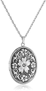 Sterling Silver Oval Floral Locket Ne…
