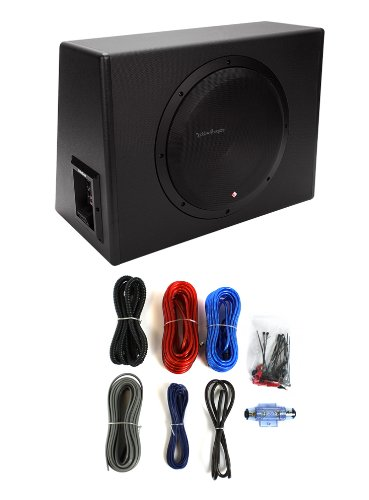 "Rockford Fosgate P300-12 12"" 300W Single Powered Subwoofer + Enclosure + Amp Kit"