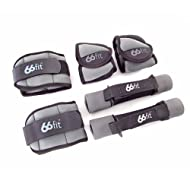 66fit Ankle/Wrist and Dumbbell Weight Set 6 Pieces - Grey/Black On sale-image