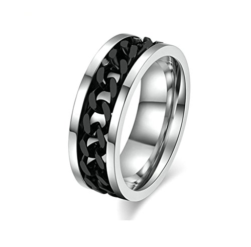 Beydodo Stainless Steel Rings (Wedding Bands) For Mens, Spinner Biker Chain Silver Black Size 11 (Azurite Ring compare prices)