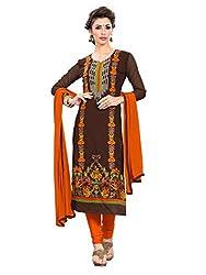 SR Women's Cotton Unstitched Dress Material(brown top orange bottom duptta)