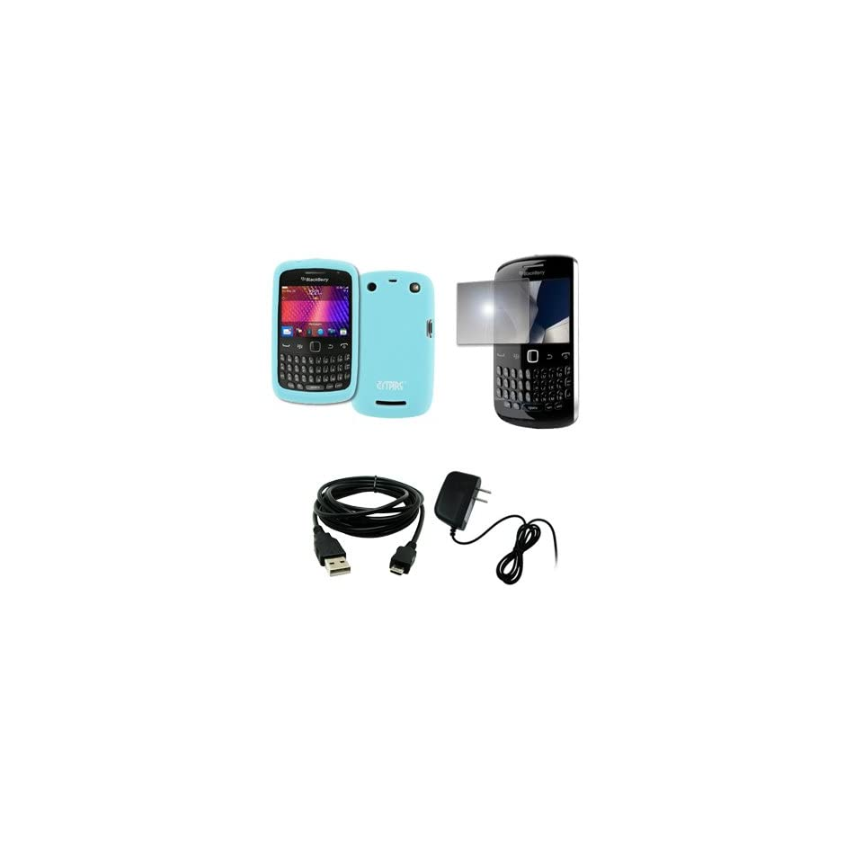 EMPIRE Light Blue Silicone Skin Case Cover + Mirror Screen Protector + Home Wall Charger + USB Data Cable for BlackBerry Curve 9360