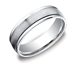 Men's Platinum Comfort-Fit Wedding Band with High-Polish Round Edges and Satin Center (6 mm), Size 10