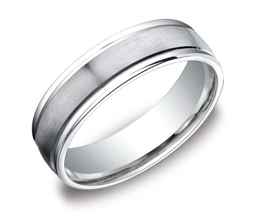 Men's Platinum 6mm Comfort Fit Wedding Band Ring with High Polished Round Edges and Satin Center, Size 9