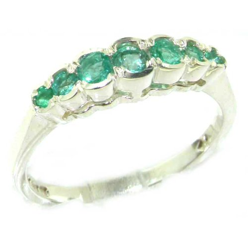 High Quality Solid Sterling Silver Ladies Natural Emerald Contemporary Style Eternity Band Ring - Size 12 - Finger Sizes 5 to 12 Available - Suitable as an Anniversary ring, Engagement ring, Eternity ring, or Promise ring