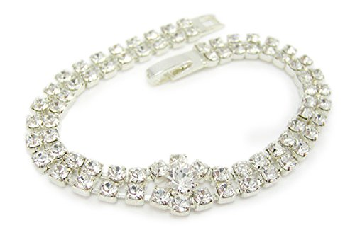 Lj Designs Two Row Crystal Bracelet With Centre Stone - In A Jewellery Presentation Box - Silver Finish - Swarovski Crystal - Ladies Gifts