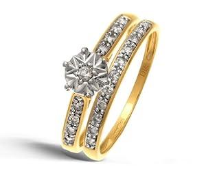 Ensemble Bague de fiançailles et alliance Femme - Or Jaune 375/1000 (9 Cts) 2.5 Gr - Diamant - T 54