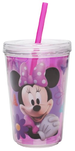 Planet Zak! Minnie Mouse Double Wall Tumbler With Straw, 13-Ounce front-882360
