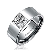 buy Bling Jewelry Men Stainless Steel Comfort Fit Engagement Cz Wedding Band Ring Free Engraving