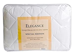Adorable USA Made Elegance Quilted, Triple Layer Polyester Filled Mattress Pad with Skirt to Fit Mattresses Up to 21-inch, Twin Size