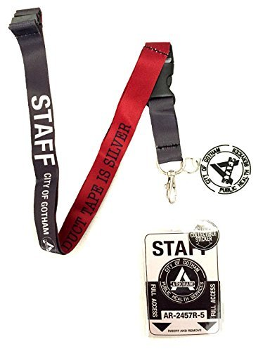 DC Comics Suicide Squad Arkham Asylum Staff Reversible Breakaway Keychain Lanyard with ID Holder, Charm and Collectible Sticker by DC Comics