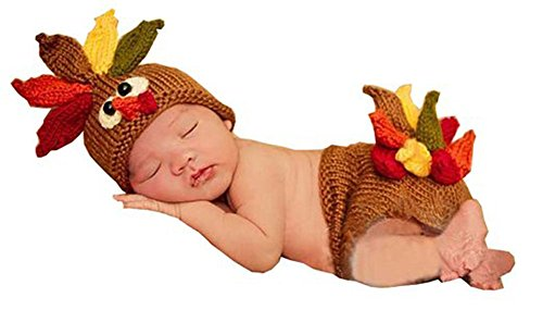 CX-Queen® Photography Prop Baby Infant Costume Turkey Crochet Knitted Hat Diaper