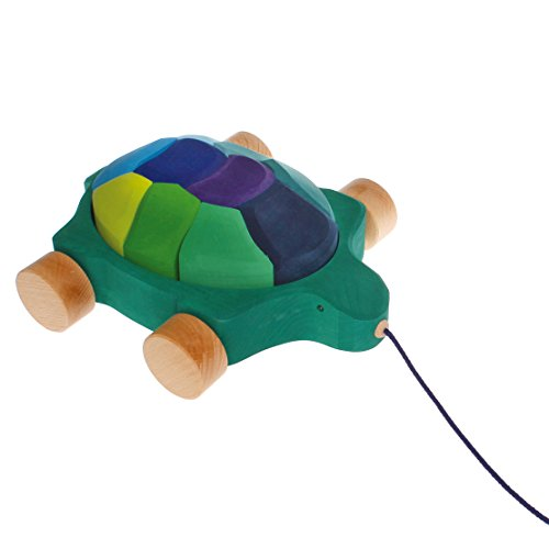 Grimm's Turtle Pull Along Toy with Waldorf Building Blocks, Sea Turtle (Ocean Colors)