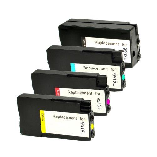Set Tintenpatronen für HP 950XL 951XL 1x BK,C,M,Y mit Füllstandsanzeige - BK 2.300 S.,Color je 1.500 S., kompatibel zu CN045 , CN046 , CN047 , CN048