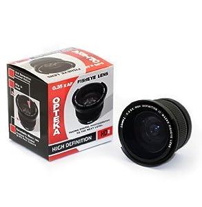 Opteka HD² 0.35x Wide Angle Panoramic Macro Fisheye Lens for Canon EOS 60D, 50D, 40D, 30D, 20D, 7D, 6D, 5D, 1D, Rebel T4i, T3i, T3, T2i, T1i, XS, XSi, XTi DSLR Cameras