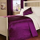 Double Quilted Passionate Faux Silk Bedspread in Mulberry