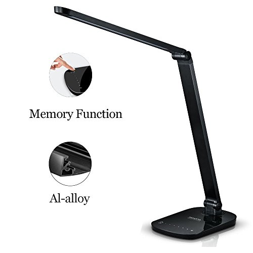 Guanya F118 Dimmable Energy Efficient Aluminum Alloy LED Desk Lamp Arm with Touch-sensitive Control Panel, Matte Black