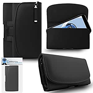 iTALKonline HTC One VX Black PREMIUM PU Leather Horizontal Executive Side Pouch Case Cover Holster with Belt Loop Clip and Magnetic Closure Includes Re-tractable Captive Touch Tip Stylus Pen.
