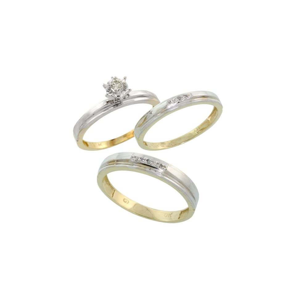 10k Yellow Gold Diamond Trio Wedding Ring Set His 4mm & Hers 3mm, Men's Size 8 to 14 Jewelry