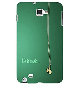 SAMSUNG GALAXY NOTE 2 LIFE IS MUSIC Back Cover by PRINTSWAG