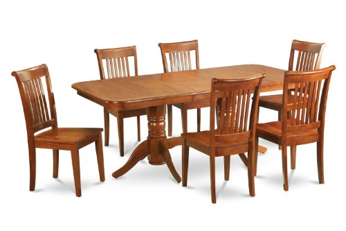 Naport 7PC Rectangular Dining Table 6 Chairs Saddble Brown Melinda D Chavezet