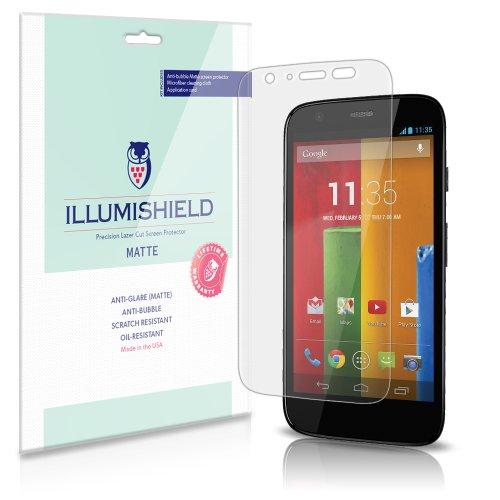 Illumishield - Motorola Moto G Anti-Glare (Matte) Screen Protector Hd Clear Film / Anti-Bubble & Anti-Fingerprint / Premium Japanese High Definition Invisible Crystal Shield - Free Lifetime Warranty - [3-Pack] Retail Packaging (4G Lte Compatible)