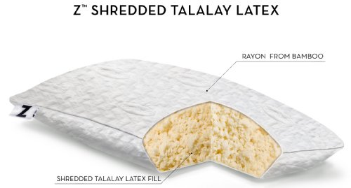 Z by Malouf 100% Natural Shredded Talalay Latex Pillow with Bamboo Cover, King