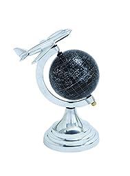 Benzara Metal Globe with White Mapping on Black Background