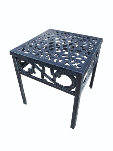 Oakland Living Mississippi Cast Aluminum End Table, 18-Inch, Verdi Grey picture