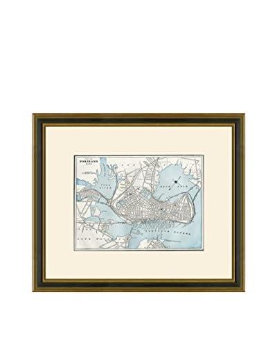 Vintage Print Gallery Antique Map Of Portland 1883-1903, Multi, 18.5 x 21.5