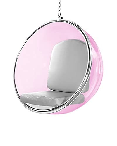 Manhattan Living Pink Bubble Hanging Chair, Silver