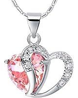 Cheri-Collier delicat pendentif coeur rose 925 cha?ne bijoux femme(boite cadeau+pochette bijoux)