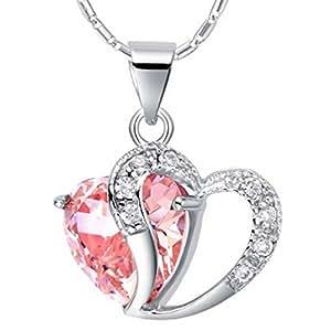 Collier Coeur Fantasie Pendentif 925 Argent Chaîne Bijoux Femme(boite cadeau+pochette bijoux)