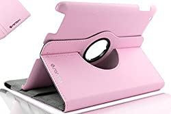 SANOXY 360 Degree Rotating Stand PU Leather Case Cover with Auto Sleep / Wake Feature for iPad 2/3/4 (PINK)