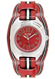 ACTIVA Watches:Juniors Black/White Stripe Dark Red Leatherette Red Dial