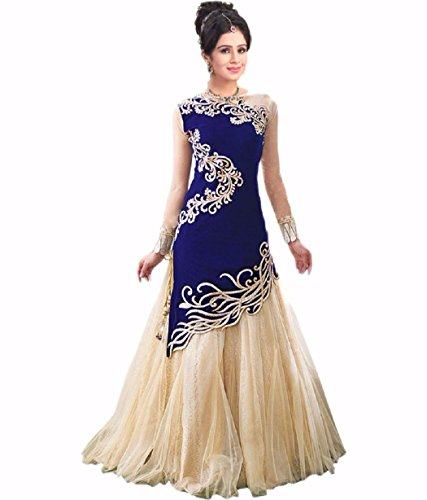 FreshFashion-Womens-Georgette-2-Piece-Gown-fs1010Blue-Cream-Free-Size