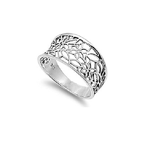 Sterling Silver 925 Victorian Leaf Filigree Vintage Style Ring 925 Size 7 (Silver Leaf Ring compare prices)