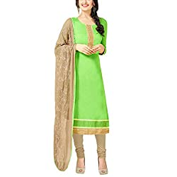Applecreation Parrot Green Dress Material With Heavy Embroidered Matching Dupatta for Women's