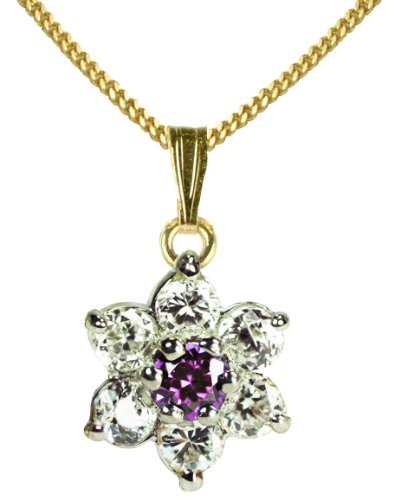 9ct Yellow Gold Created Sapphire & Cubic Zirconia September Birthstone Pendant + 46cm Curb Chain